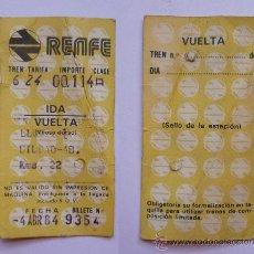Coleccionismo Billetes de transporte: TICKET/BILLETE TREN RENFE 1984 LLODIO-BILBAO. Lote 18053051