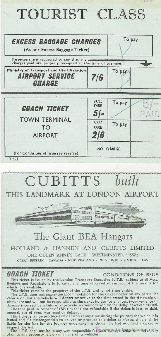 COACH TICKET - TOWN TERMINAL TO AIRPORT - TOURIST CLASS (Coleccionismo - Billetes de Transporte)