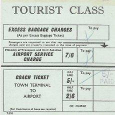 Coleccionismo Billetes de transporte: COACH TICKET - TOWN TERMINAL TO AIRPORT - TOURIST CLASS. Lote 18138920