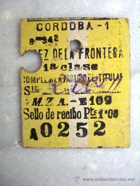 ANTIGUO BILLETE CORDOBA - JEREZ DE LA FRONTERA. 1ª CLASE. (Coleccionismo - Billetes de Transporte)