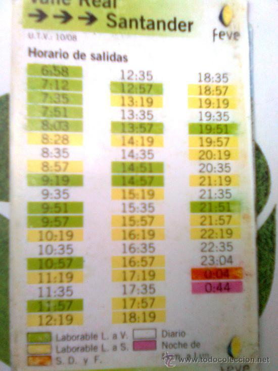 Tabla de horarios trenes feve santander villar comprar for Horario de trenes feve