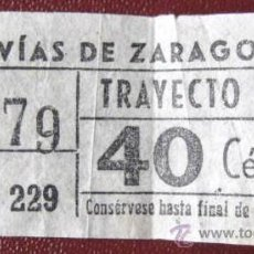 Coleccionismo Billetes de transporte: BILLETE ANTIGU0. TRANVIAS - ZARAGOZA -.. . ENVIO GRATIS¡¡¡. Lote 19225664
