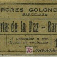 Coleccionismo Billetes de transporte: BILLETE DE VAPORES GOLONDRINAS DEL PUERTO DE BARCELONA. Lote 27503703