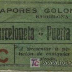 Coleccionismo Billetes de transporte: BILLETE DE VAPORES GOLONDRINAS DEL PUERTO DE BARCELONA. Lote 27503704