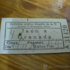 Coleccionismo Billetes de transporte: BILLETE DE AUTOBUS JAEN A GRANADA, ALSINA GRAELLS. 1957.. Lote 19753299