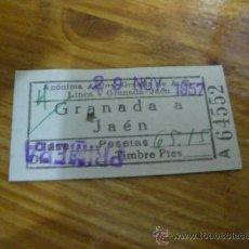 Coleccionismo Billetes de transporte: BILLETE DE AUTOBUS GRANADA A JAEN, ALSINA GRAELLS. 1957.. Lote 19753441