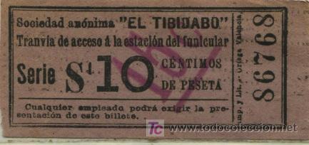 BILLETE DEL TRANVIA DEL TIBIDABO BARCELONA // 10 CTS SOBRECARGA 15 CTS. (Coleccionismo - Billetes de Transporte)