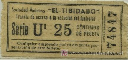 BILLETE DEL TRANVIA DEL TIBIDABO BARCELONA //25 CTS (Coleccionismo - Billetes de Transporte)