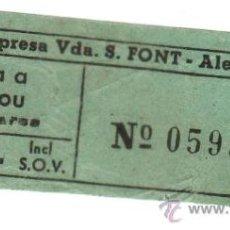 Coleccionismo Billetes de transporte: ALELLA - MASNOU. ANTIGUO BILLETE DE AUTOBUS DE LA EMPRESA VDA. S. FONT, ALELLA. 3,50 PTS. Lote 20547154