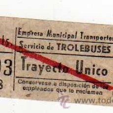 Coleccionismo Billetes de transporte: BILLETE TRANSPORTES, SERVICIO DE TROLEBUSES, TRAYECTO UNICO. Lote 20775385