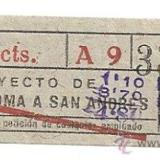 Coleccionismo Billetes de transporte: AR3. BILLETE BUS AÑOS 40 BARCELONA-STA COLOMA 30 CTS .RARO. Lote 26313206