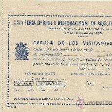 Coleccionismo Billetes de transporte: BILLETE TREN ESPECIAL FERIA MUESTRAS BARCELONA 1955.ORIGINAL.RARO. Lote 27188357