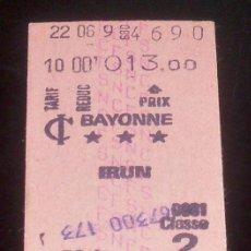 Coleccionismo Billetes de transporte: BILLETE TREN SNCFS FRANCIA - BAYONNE - IRÚN 1979. Lote 27299224