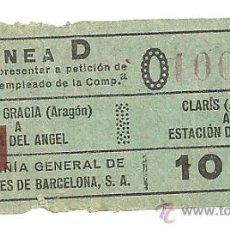 Coleccionismo Billetes de transporte: BILLETE AUTOBUSES BARCELONA AÑOS 20 LINEA D COMPAÑIA GENERAL DE AUTOBUSES (CGA) BONITA PIEZA. Lote 26921448