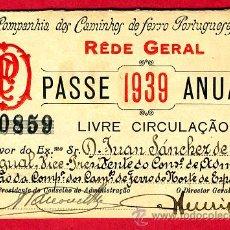 Coleccionismo Billetes de transporte: TREN , FERROCARRIL COMPAÑIA PORTUGUESA , PORTUGAL , BILLETE LIBRE CIRCULACION 1939 ORIGINAL, F4. Lote 24118040