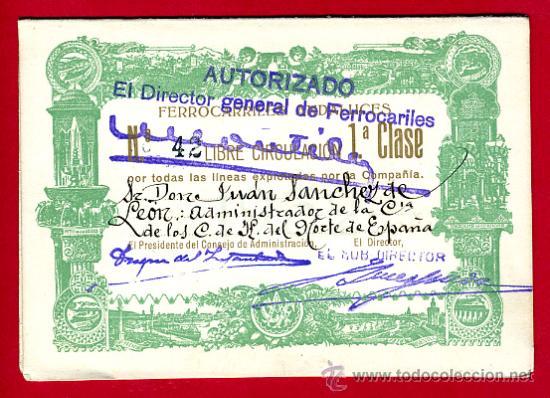 TREN, FERROCARRIL FERROCARRILES ANDALUCES , BILLETE LIBRE CIRCULACION 1932 1ª CLASE, F18 (Coleccionismo - Billetes de Transporte)