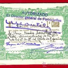 Coleccionismo Billetes de transporte: TREN, FERROCARRIL FERROCARRILES ANDALUCES , BILLETE LIBRE CIRCULACION 1932 1ª CLASE, F18. Lote 24118481