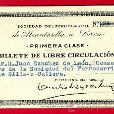 Coleccionismo Billetes de transporte: TREN, FERROCARRIL DE ALCANTARILLA A LORCA , BILLETE LIBRE CIRCULACION 1936 1ª CLASE, F21. Lote 24118573