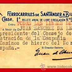 Coleccionismo Billetes de transporte: TREN, FERROCARRIL SANTANDER BILBAO NORTE, BILLETE LIBRE CIRCULACION 1941 1ª CLASE, F25. Lote 24118682