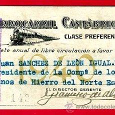 Coleccionismo Billetes de transporte: TREN, FERROCARRIL CANTABRICO HIERRO DEL NORTE ,BILLETE LIBRE CIRCULACION 1940 CLASE PREFERENTE , F26. Lote 24118720
