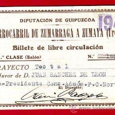 Coleccionismo Billetes de transporte: TREN, FERROCARRIL ZUMARRAGA A ZUMAYA, UROLA GUIPUZCOA ,BILLETE LIBRE CIRCULACION 1941 1ª CLASE, F27. Lote 24118743