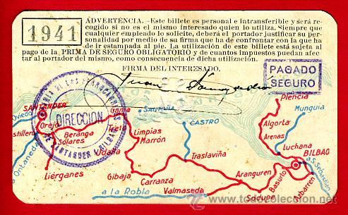 Coleccionismo Billetes de transporte: TREN, FERROCARRIL SANTANDER BILBAO NORTE, BILLETE LIBRE CIRCULACION 1941 1ª CLASE, F25 - Foto 2 - 24118682