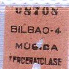 Coleccionismo Billetes de transporte: BILLETE DE TREN. BILBAO A MURCIA 3ª CLASE. 1935.. Lote 24565529