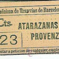 Coleccionismo Billetes de transporte: BILLETE DE LA COMPAÑIA ANONIMA DE TRANVIAS DE BARCELONA 1890 A 1900¿ EPOCA CABALLOS. Lote 27525901
