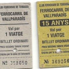 Coleccionismo Billetes de transporte: 3 BILLETES TREN FERROCARRIL VALLPARADIS-TERRASSA(BARCELONA). Lote 26889982