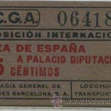 Coleccionismo Billetes de transporte: BILLETE DE CARTONCILLO DE CGA // EXPOSICION INTERNACIONAL DE BARCELONA // 35 CTS // 1929. Lote 27526669