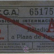 Coleccionismo Billetes de transporte: BILLETE DE PAPEL DE CGA // EXPOSICION INTERNACIONAL DE BARCELONA // 60 CTS // 1929. Lote 27622385