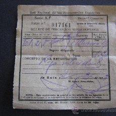 Coleccionismo Billetes de transporte: RED NACIONAL DE FERROCARRILES ESPAÑOLES.BILLETE DE PERCEPCION SUPLEMENTARIA.CALATAYUD-ALHAMA.TRENES. Lote 25974244