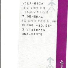 Coleccionismo Billetes de transporte: AR6. BILLETE TREN VILA-SECA BARCELONA -SANTS PARA 3 VIAJEROS. Lote 26562705