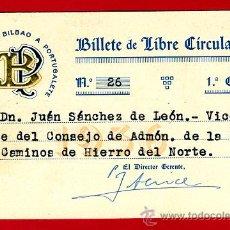 Coleccionismo Billetes de transporte: BILLETE TREN , FERROCARRIL BILBAO A PORTUGALETE, 1ª CLASE , LIBRE CIRCULACION ,1936 ,F42. Lote 26794867