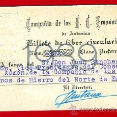 Coleccionismo Billetes de transporte: BILLETE TREN , FERROCARRIL FERROCARRILES ECONOMICOS DE ASTURIAS , LIBRE CIRCULACION ,1939 ,F44. Lote 26794921