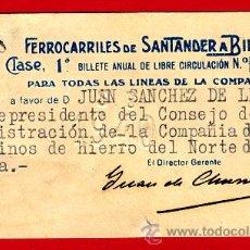 Coleccionismo Billetes de transporte: BILLETE TREN , FERROCARRIL FERROCARRILES SANTANDER A BILBAO ,1ª CLASE , LIBRE CIRCULACION ,1940 ,F45. Lote 26794956
