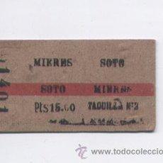 Coleccionismo Billetes de transporte: BILLETE TREN MIERES-SOTO, IDA Y VUELTA, AÑOS 70. Lote 26857784