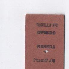 Coleccionismo Billetes de transporte: BILLETE TREN, OVIEDO-MOREDA, AÑOS 70 . Lote 26884554