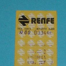 Coleccionismo Billetes de transporte: BILLETE RENFE SITGES A VALENCIA. 28/09/1974. Lote 26939067