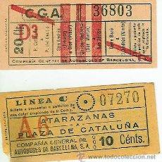 Coleccionismo Billetes de transporte: BILLETES DE LA COMPAÑIA DE AUTOBUSES DE BARCELONA PRIMERA EPOCA. Lote 27172271