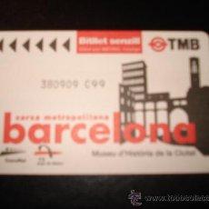Coleccionismo Billetes de transporte: BILLETE SENCILLO TMB. 75 AÑOS METRO BARCELONA. MUSEO HISTORIA CIUDAD. SOLO METRO. Lote 27418317