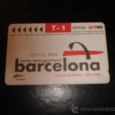 Coleccionismo Billetes de transporte: TITULO T-1 PARA 10 VIAJES COMBINADOS TMB. BARCELONA 75 AÑOS METRO 1924-1999. Lote 27539029