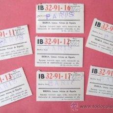 Coleccionismo Billetes de transporte: ETIQUETAS PARA MALETAS. VUELO MADRID. PARIS. IBERIA. AÑO 1964 .. ENVIO GRATIS¡¡¡. Lote 27660888