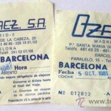 Coleccionismo Billetes de transporte: BILLETES DE BUS. BARCELONA-MADRID-BARCELONA. AÑOS 80.. ENVIO GRATIS¡¡¡. Lote 27958151