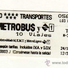 Coleccionismo Billetes de transporte: BILLETE METRO BUS DE MADRID. Lote 28112379