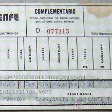 Coleccionismo Billetes de transporte: RENFE- BILLETE BARCELONA ESTACIÓN DE SANTS - ALICANTE AÑO 1985-FUMADOR-PEQUEÑAS MANCHAS . Lote 28242804