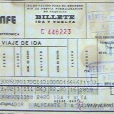 Coleccionismo Billetes de transporte: RENFE- BILLETE ALICANTE - MADRID CHAMARTIN- AÑO 1983. Lote 28305309