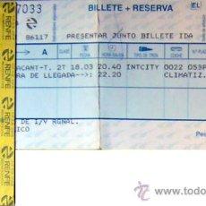 Coleccionismo Billetes de transporte: RENFE - BILLETE VALENCIA-ALICANTE AÑO 1999, CON EL TICKET DE COMPRA. Lote 28529051