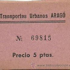 Coleccionismo Billetes de transporte: (BT-101)BILLETE DE TRANSPORTE URBANOS ARAGO. Lote 28909362