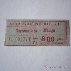 Coleccionismo Billetes de transporte: BILLETE AUTOMOVILES PORTILLO S.L.. TORREMOLINOS - MALAGA. . Lote 29338621